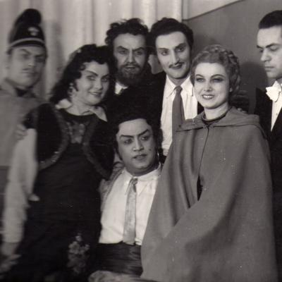 """Po """"Karmen"""" spektaklio su Maskvos Didžiojo teatro artistais Pavelu Lisicianu ir Marija Maksakova."""