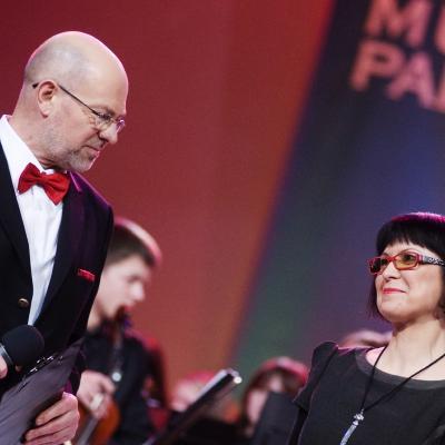 Didžiojo muzikų parado 2012 vedėjai Viktoras Gerulaitis ir Jūratė Katinaitė