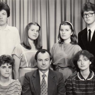 Su studentais 1986 m.