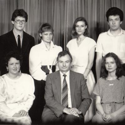 Su studentais 1988 m.