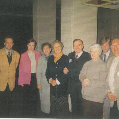 III-jo Kauno tarptautinio fortepijoninių ansamblių konkurso žiuri. Iš kairės: Z. Ibelhauptas, V. Rindzevičiūtė, B. Markevičienė, B. Halska, K. Grybauskas, S. Lehmstedt, M. Švinka, H. Schicker