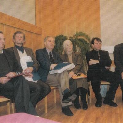 III-jo Kauno tarptautinio fortepijoninių ansamblių konkurso žiuri. Iš kairės: K. Grybauskas, M. Švinka, H. Schicker, S. Lehmstedt, Z. Ibelhauptas, V. Starodubrovskij