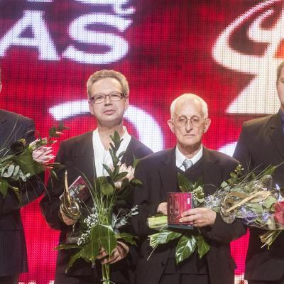 """""""Auksinis diskas 2014"""". Laureatai (iš kairės) Mindaugas Bačkus, Pavelas Giunteris, Leopoldas Digrys ir Vaclovas Daunoras (sūnus)"""