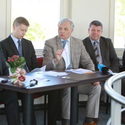 Gintaras Ugianskis, Andrius Kupcinskas, Petras Bingelis ir Justinas Krėpšta pristato Pažaislio festivalį