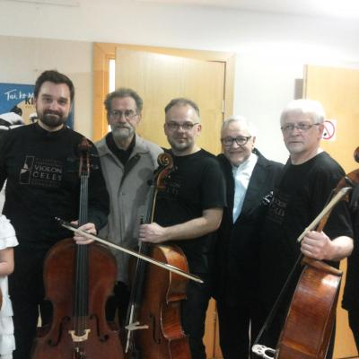 2017 05 05 Po 100 violončeliu koncerto. Jaunoji violončelininkė, R.Vaitkevičius, A.Šivickis, M.Bačkus, D.Geringas, R.Armonas, G.Pyšniak