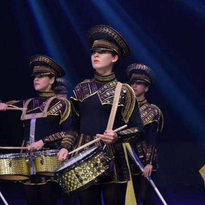 """Nuotr. Žavus Odesos (Ukraina) merginų šou mušamųjų instrumentų ansamblio """"Crazy Drummers"""" pasirodymas būgnų grupių festivalyje-konkurse """"DrumLine Battle Baltic 2016, """"Cido"""" arenoje"""