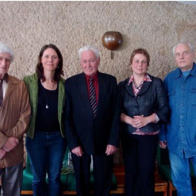 Iš kairės į dešinę kompozitoriai: Vytautas Barkauskas, Veronika Kraus (JAV),       Vaclovas Paketūras,  Zita Bružaitė (Lietuvos kompozitorių sąjungos pirmininkė),      Feliksas Bajoras. 2009 metai.