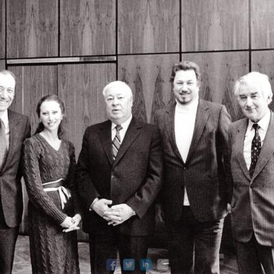 """Pas LKP CK pirmąjį sekretorių, bet ne """"ant kilimėlio"""". Iš kairės: Rodionas Ščedrinas, Maja Pliseckaja, Petras Griškevičius, Virgilijus Noreika, Lionginas Šepetys"""