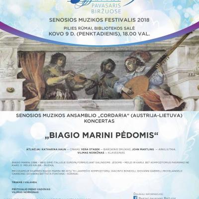 """KOVO 9 D.  18 VAL. Ansamblio """"CordAria"""" (Lietuva-Austrija) koncertas """"Biagio Marini pėdomis"""". PILIES RŪMAI. BIBLIOTEKOS SALĖ."""