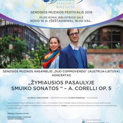 """KOVO 10 D. 16 VAL. Ansamblio """"Duo commovendo"""" (Lietuva-Austrija) koncertas """"Žymiausios pasaulyje smuiko sonatos – Corelli op. 5"""". PILIES RŪMAI. BIBLIOTEKOS SALĖ."""