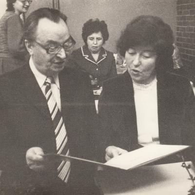 Su direktoriaus pavaduotoju Juozu Budėnu. 1970-72 m.