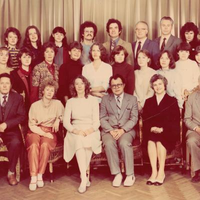 Chorinio dirigavimo 4 kurso studentai 1986 m.