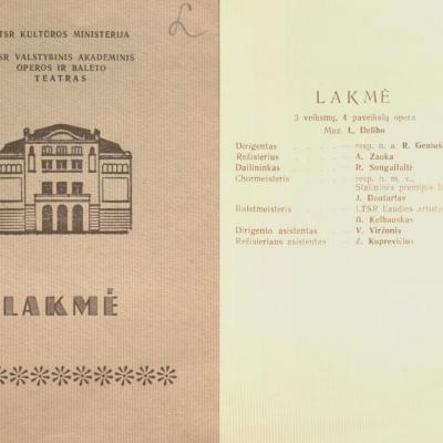 Lakmė  L. Delibo 3 veiksmų, 4 pavadinimų opera. 1955 m