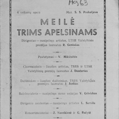 Meilė trims apelsinams  S. Prokofjevo 4-rių veiksmų opera. 1963 m