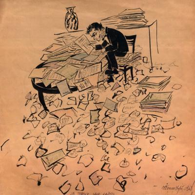 """Irena Geniušienė """"Jis tvarko savo raštus"""". 1960 m."""