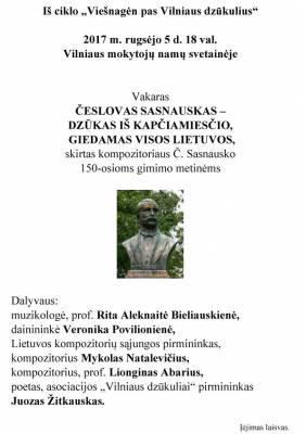 Kompozitoriui Česlovui Sasnauskui 150