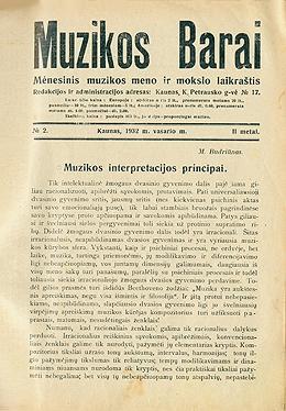 Muzikos barai, 1932, 2