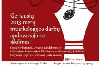 Įteiktos premijos už ryškiausius 2013 m. lietuvių muzikologijos darbus