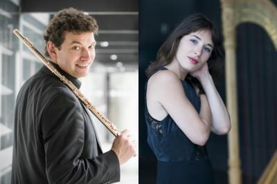 Pasaulinio garso arfininkė iš Prancūzijos ir dirigentas bei fleitininkas iš Šveicarijos